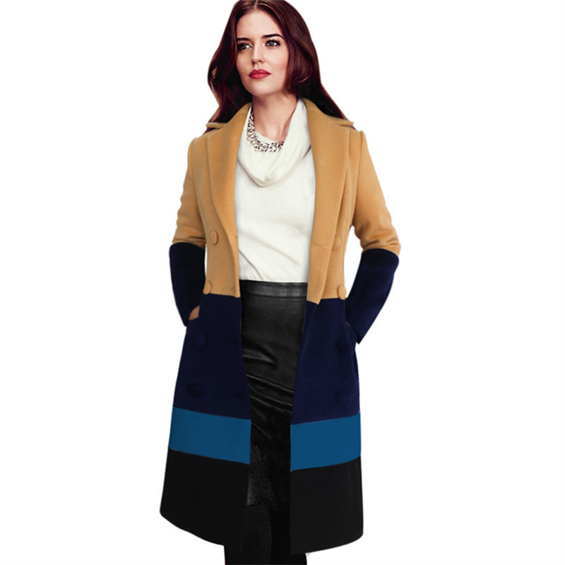 New European and American Womens Woolen Blends Long Trenchcoat Autumn and Winter Patchwork Coats Women C25Y11Одежда и ак�е��уары<br><br><br>Aliexpress
