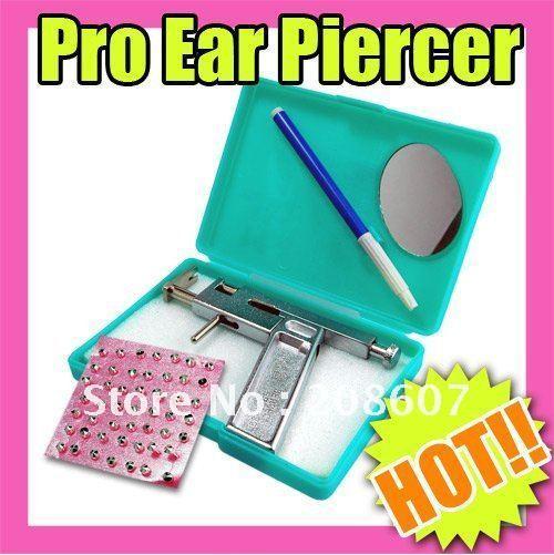 Freeshipping Decoration Ear Art Beauty Tools Ear Piercing Gun Pierce Kit + 98pcs Free Silver Studs / Nail + pen