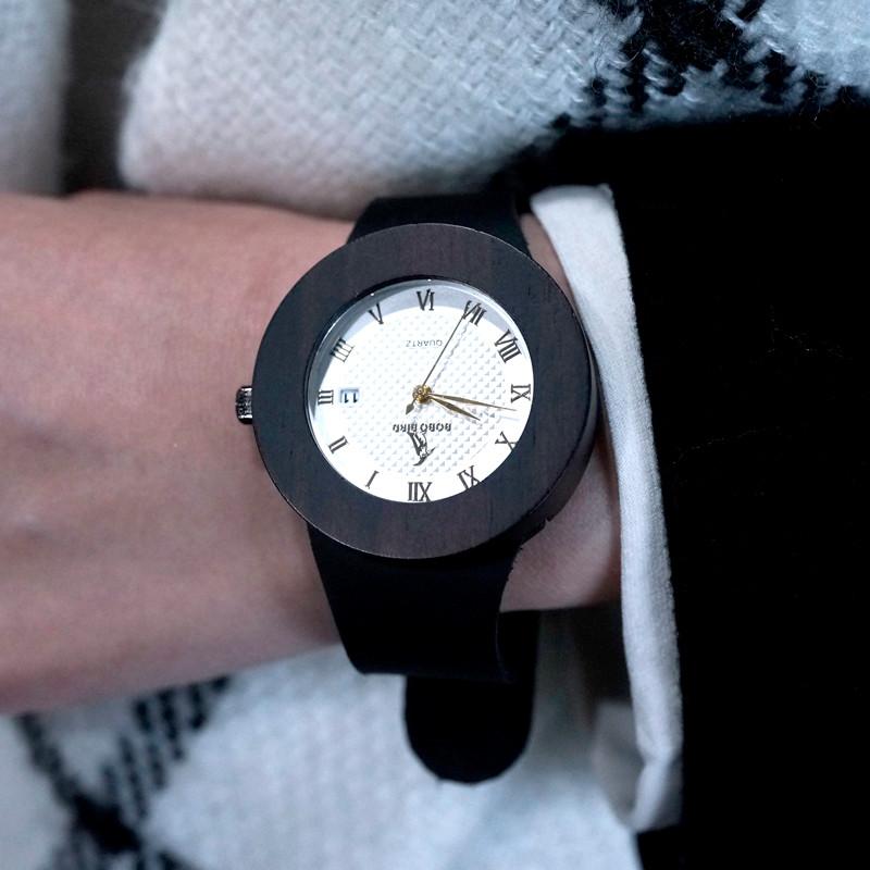 БОБО ПТИЦА Природный Ebony Sandwood Деревянные мужская Черный Круглый Кожаный Часы Luxuly женщин Наручные Часы C02