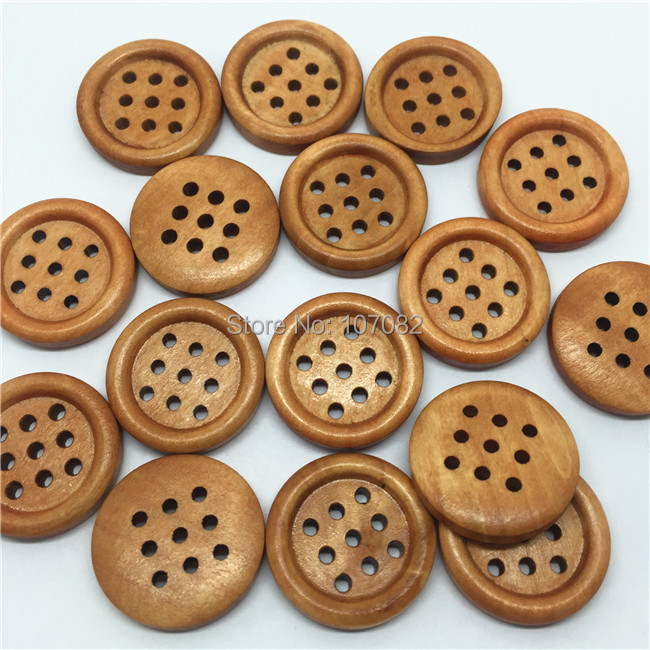New! 100pcs Antique Style Light Brown 23mm Round Wood Buttons Sewing Button With 9 Holes For Scrapbooking Garment Accessories