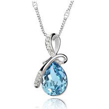 Turquoise Crystal Necklace Pendants 18K Gold And Silver Plated Jewellery & Jewerly 2016 Necklace Women Fashion Jewelry Wholesale(China (Mainland))