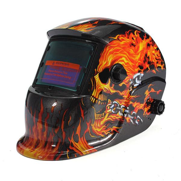 2015 New Best Vivacious Skull Head Flame Solar Auto Darkening Welding Helmet Mask Cap Goggles Tool UV/IR Presevation(China (Mainland))