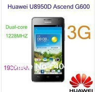 "free shipping Original Huawei U8950D Ascend G600/ 4.5"" IPS  screen Honor+ dual-core 1.2G cpu 8.0M camera 768MB RAM 4GB ROM"