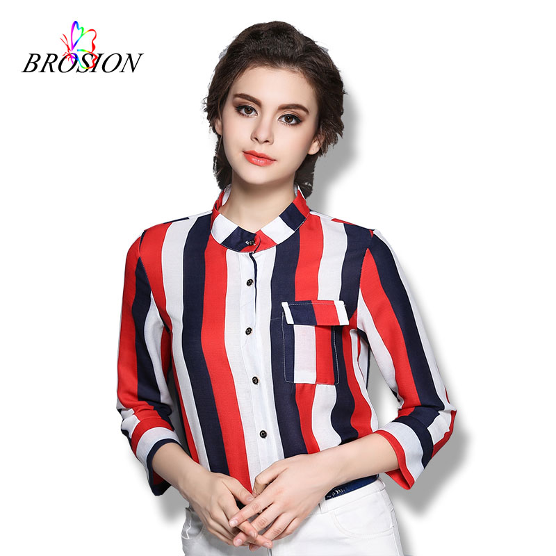 Women Striped Chiffon Blouse 2016 Autumn Long Sleeve Ladies Plus Size Shirt Female Turn-down Collar FashionTops With Pockets(China (Mainland))