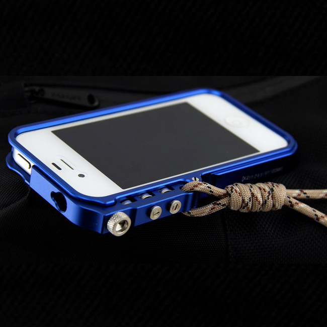 Trigger Metal Bumper Cover Case For Apple iPhone 4 4S Case Original lanyard Premium Aviation Aluminum Bumper Cell Phones Case(China (Mainland))