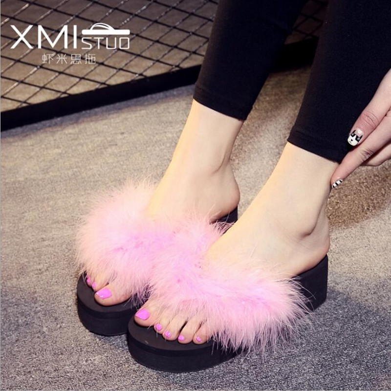 2017 New Fashion Summer Women Sandals Manual Feather Fur Beach Slippers Women's High Heel Thick Bottom Flip Flops