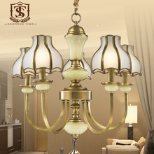 American Copper Glass Chandelier Marble Stone Decorative Hanging Lighting Dining Room Led Lights (China (Mainland))