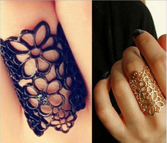 2015 New Fashion Accessories Cutout Lace Flower Women Ring Vintage Charm Jewelry Wrap Alloy Finger Ring