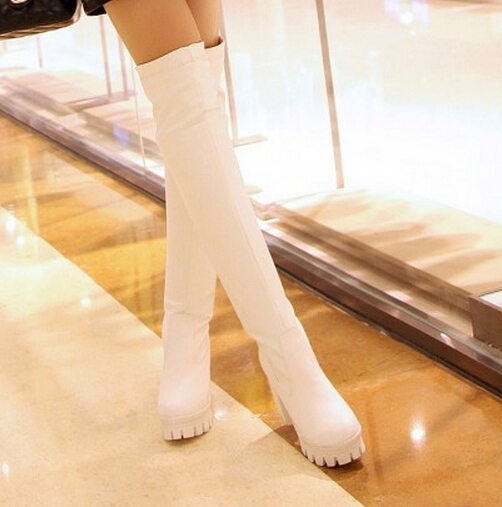 Tight stretch over the knee boots 2015 Sexy Fashion High Heel Shoes WOMEN Chunky HEELS Platform Boots<br><br>Aliexpress