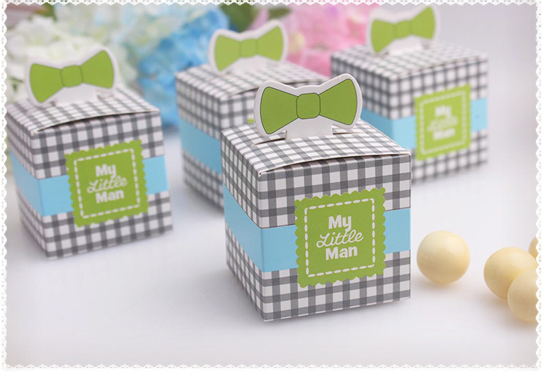 New Arrival My Little Man Favor Box 100PCS/LOTwedding favor box baby shower party candy box cupcake cake box(China (Mainland))