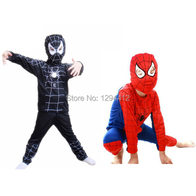 Spider-man Red black spiderman costume set carnival costume for kids Halloween gift children party anime cosplay free shipping(China (Mainland))