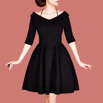 2012 Autumn new arrival ol brief vintage royal elegant V-neck half sleeve one-piece dress plus size free shipping