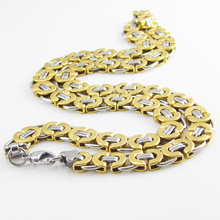 55 cm Length 11mm Width Byzantine Stainless Steel Necklace MENS Boys Chain Necklace Gold Tone Fashion Men Jewelry(China (Mainland))