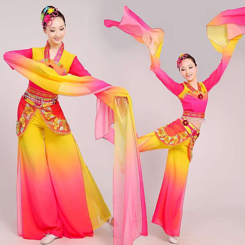 chinese water sleeves costumes dunhuang flying Classical dance clothing long sleeves fan Poetry fairy costume stage performance(China (Mainland))
