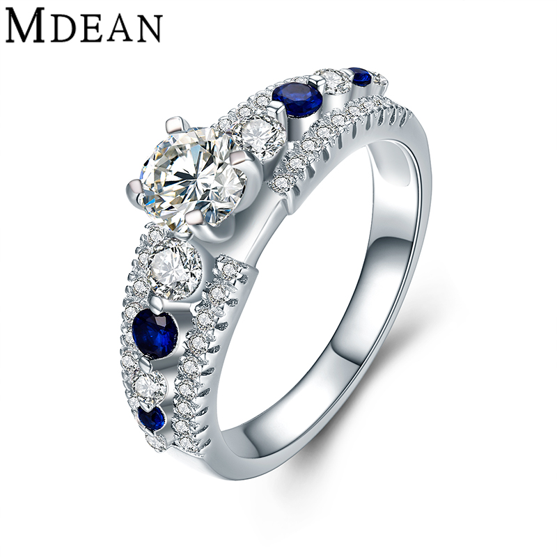MDEAN Wedding Rings for Women Genuine 925 Sterling Silver Jewelry Solid Pure Blue and Clear CZ Diamond Engagement Bague MSR477(China (Mainland))