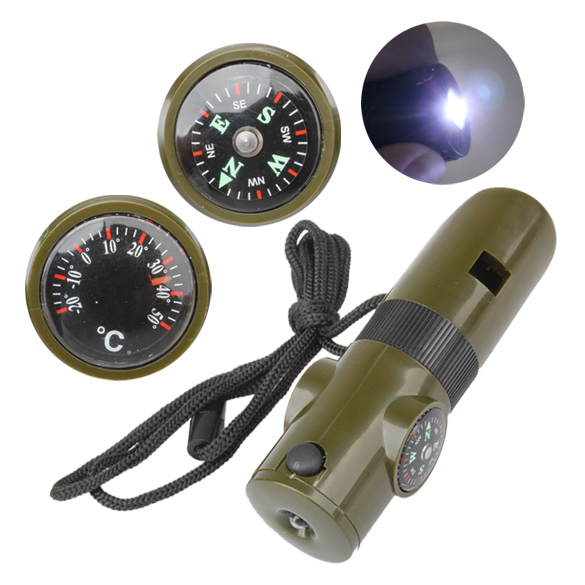 S1M# Outdoor Camping Hiking Military Survival Kit Whistle Compass LED Light(China (Mainland))