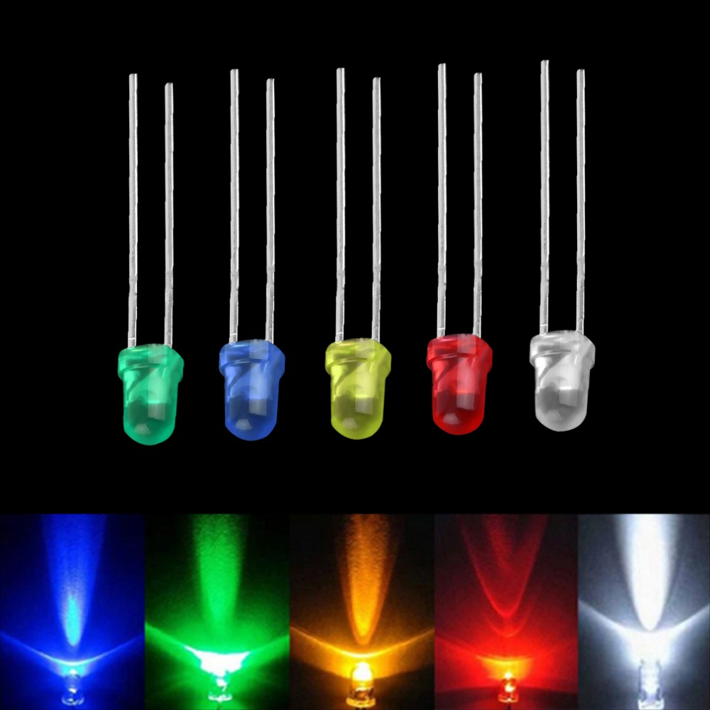 100pcs 3mm White Green Red Blue Yellow Led Light Bulb Emitting Diode Lamps Brand New In Diodes