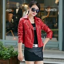 2015 New Spring and Autumn Motorcycle Pu Leather Jacket Plus Size Women Short Female Jacket Slim Women's Winter Coat BL0027(China (Mainland))