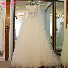 AnXin SH new promotional luxury deep V word shoulder bride wedding dress thin big trailing Wedding 835 - Shanghai Trading Co.,Ltd. store