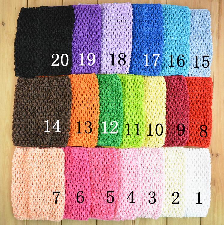 10pcs/lot Free Shipping Solid Color Kids Elastic Headbands Toddler Crochet Waffle String Tutu Tube Baby Tops 34 colors(China (Mainland))