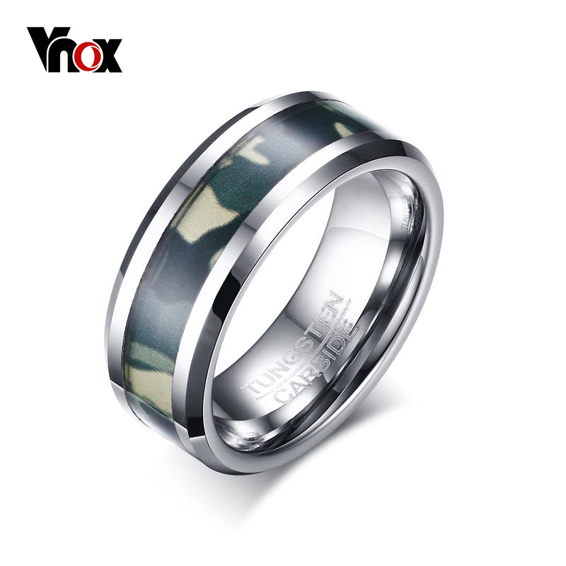 Vnox Men's Tungsten Carbide Ring 8mm Punk Camo Camouflage Comfort Fit Wedding Bands Male Ring Jewelry(China (Mainland))