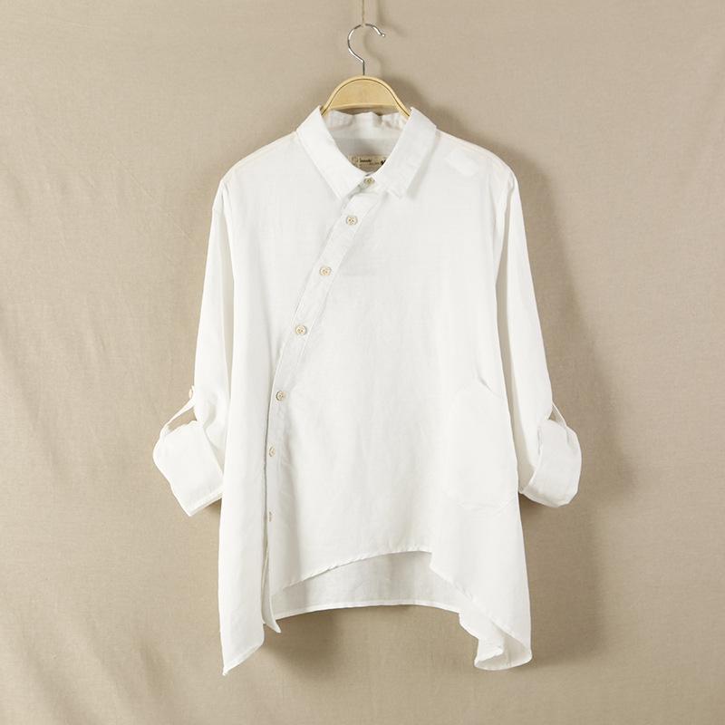 Women kimono blouse high quality white shirts cotton linen for Womens white shirts high quality