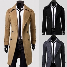 Men Long Peacoat Pea A Winter Down Jacket Mens Coat Male Camel Wool Overcoat Manteau Homme Chaqueta De Invierno De Los Hombres(China (Mainland))