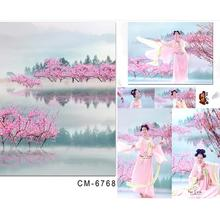Vinyl Studio Backdrop Baby Peach Tranquil Lake In Wonderland Fabric For The Background In The Photo Studio