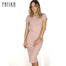 Buy FATIKA Women Casual Summer Dress Short Sleeve O-Neck Bodycon Dress Striped Side Split T Shirt Women's Slim Fit Dresses for $10.09 in AliExpress store
