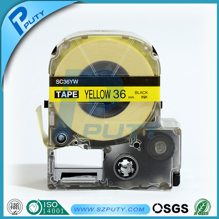 10 packs 36mm Black on Yellow SC36YW compatible label tapes for kingjim label printers<br><br>Aliexpress