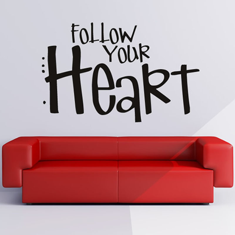 follow your heart wall decal vinyl sticker lettering removable diy self adhesive home decor wall sticker for living room