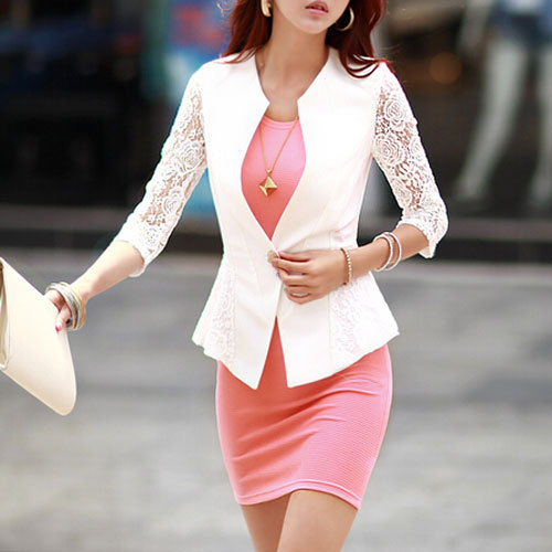 2015 Autumn Hot Lace Blazer Women Single Button V Neck Solid White Black Blazers Jackets Women's Blaser Feminino WWX349(China (Mainland))