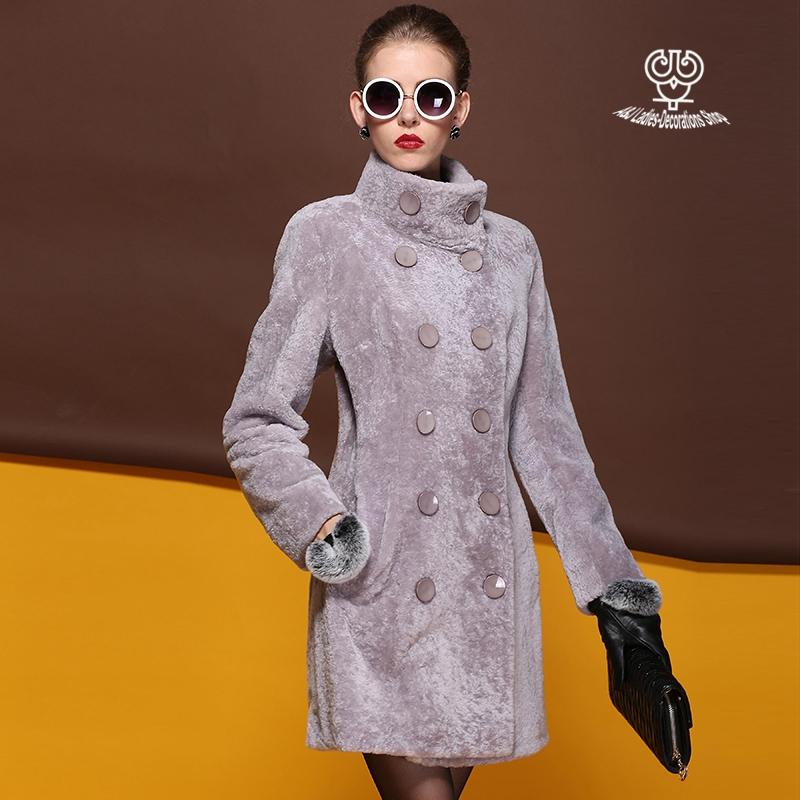 Genuine Double-breasted Coat Sheared Sheep Fur Parka Slim Sheepskin Outerwear Women Winter Fur Coat Long  AJ-S015-1Одежда и ак�е��уары<br><br><br>Aliexpress