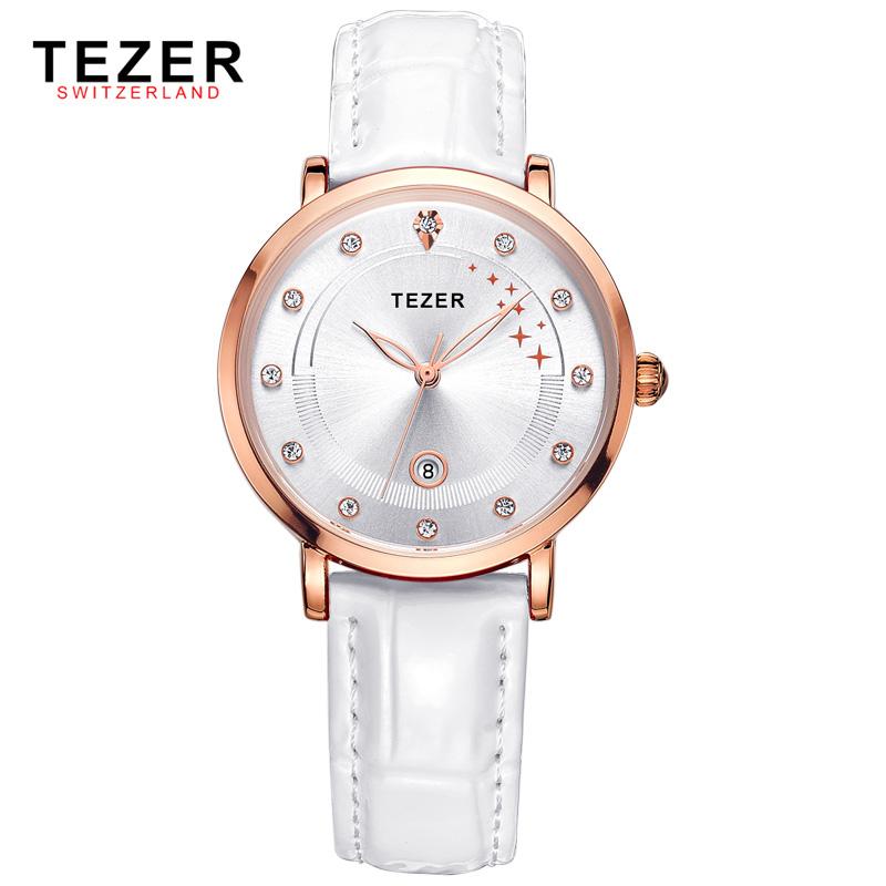 TEZER Women Watch Elegant Leather Band Watches Fashion Women Clock Casual Ladies Quartz Wristwatch Waterproof T3050(China (Mainland))