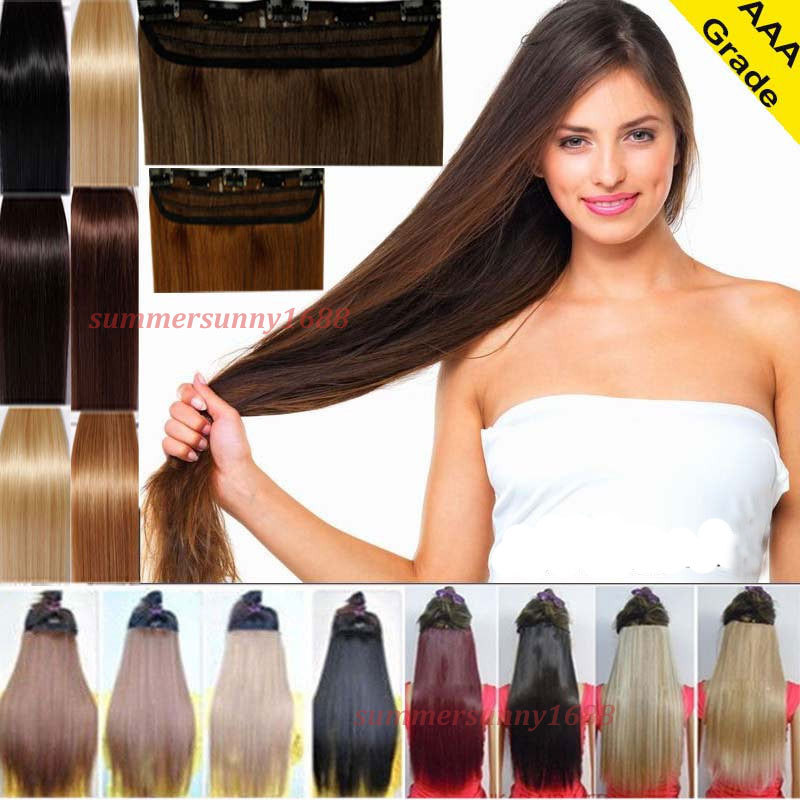 30 inch Maga Long Women ladies straight Clip in ins hair extensions real thick fashion new costume party hair piece Grade AAA(China (Mainland))