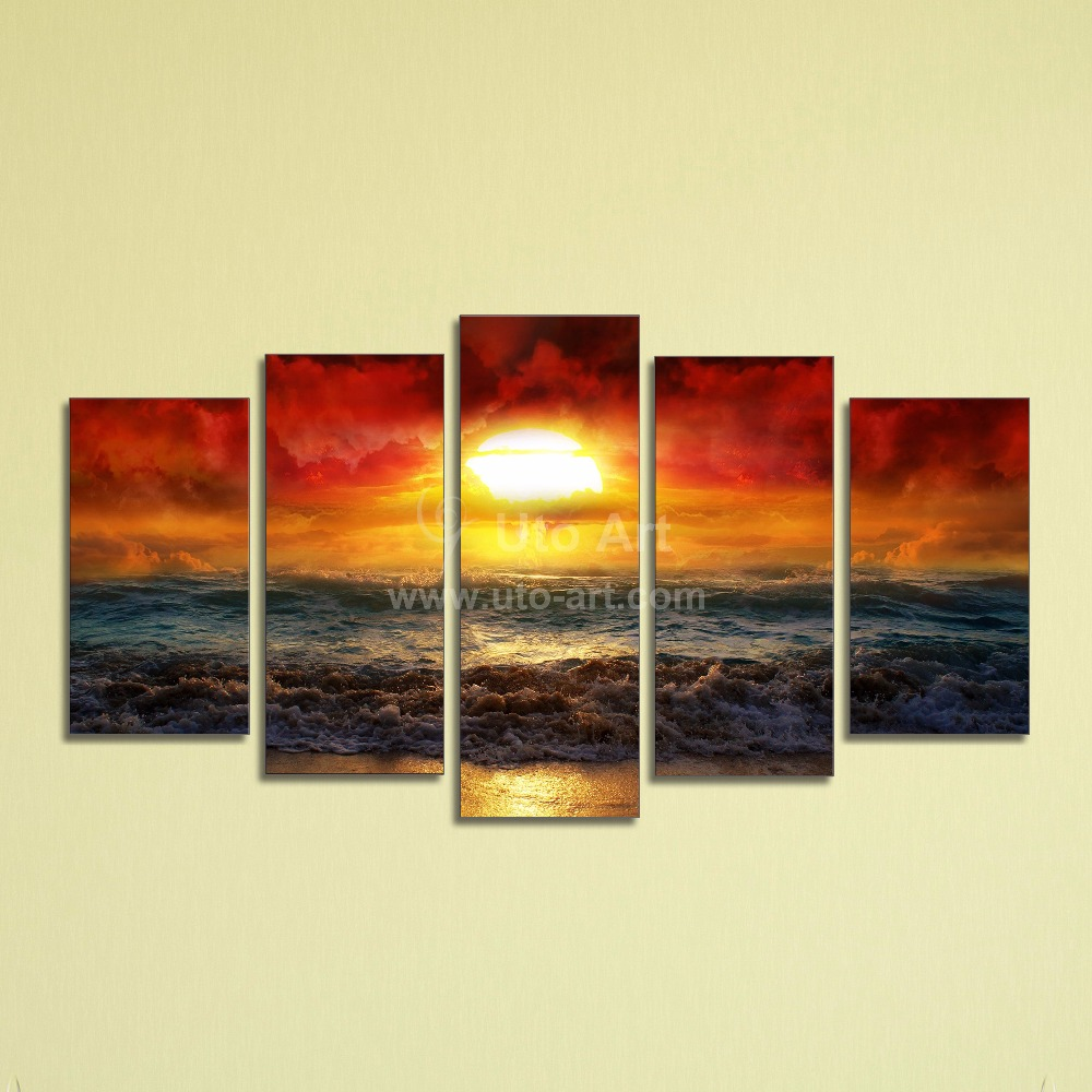 Cheap Wall Canvas Prints Idea Cheap 5 Panel Wall Art Painting Ocean Beach Decor Canvas Prints