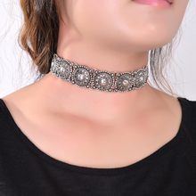 Hot Boho Collar Choker Silver Necklace statement jewelry for womenFashion Vintage Ethnic style Bohemia Turquoise Beads neck