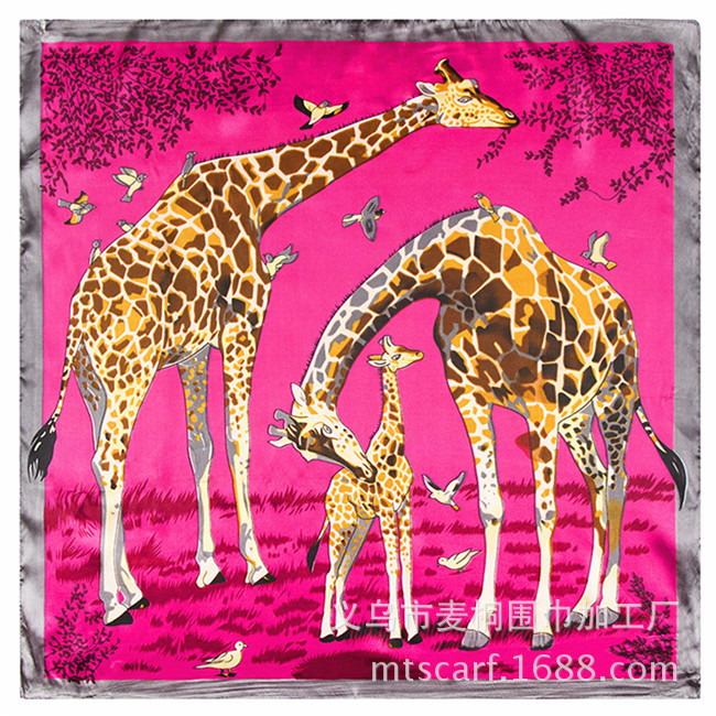 New Arrival Women Printed Scarf silk cartoon big animal giraffe small occupation scarves(China (Mainland))