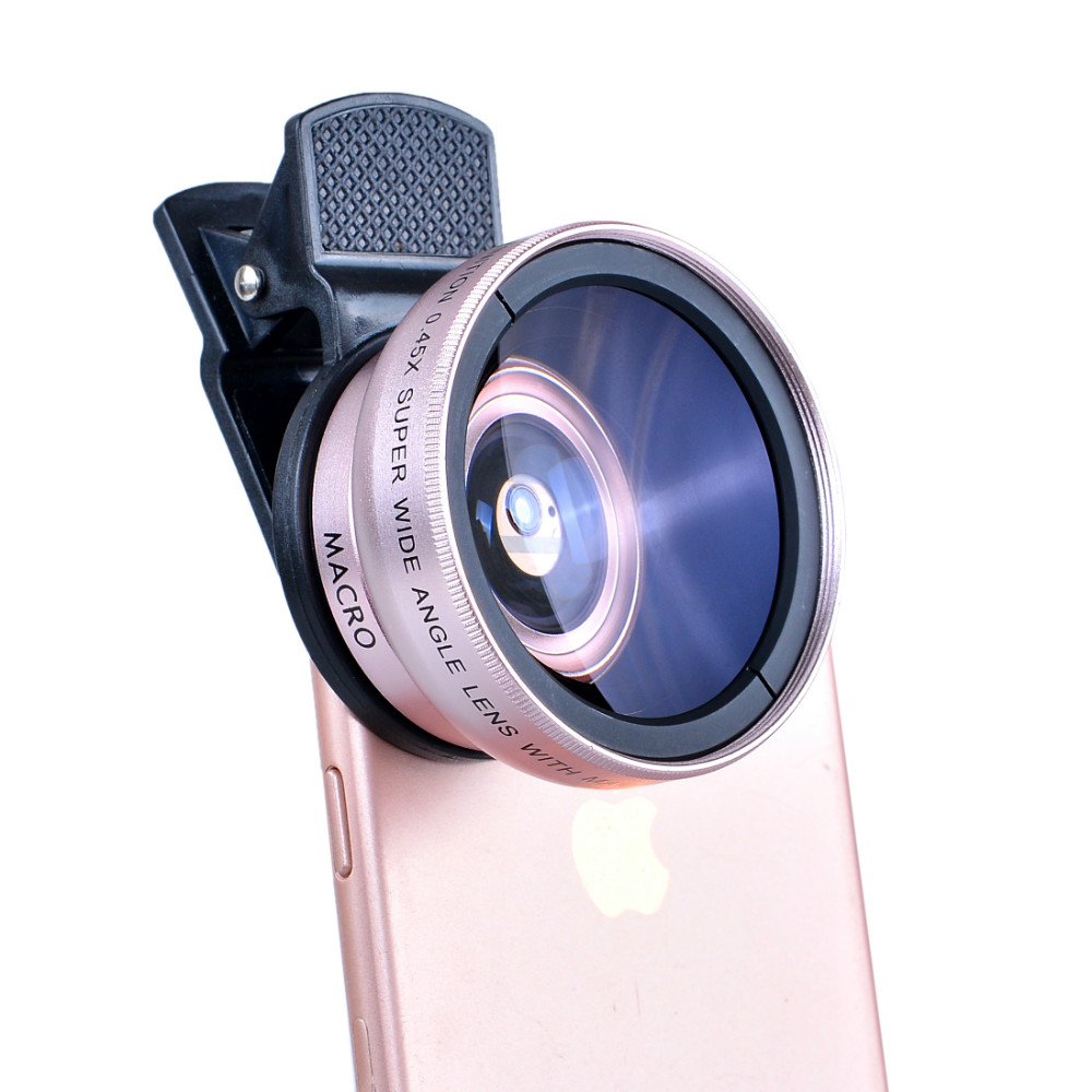Universal Clips 12.5X Macro 0.45X Wide Angle Lens For Cell Phone Camera Lenses Microscope With Mobile Tripod Bluetooth shutter
