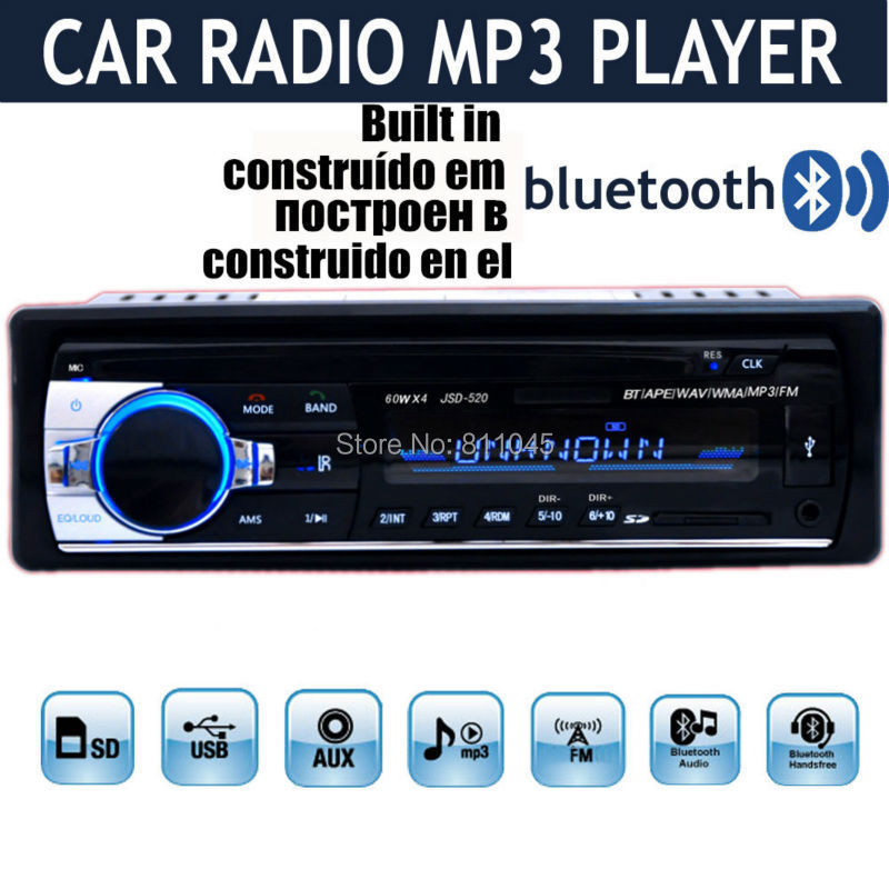 2015 NEW style 12V Car Stereo Radio MP3 car audio Bluetooth w/USB SD card MMC Port Car electronic In-Dash1 DIN handfree call(China (Mainland))
