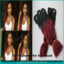 Free Shipping (5pcs/lot) Cheap price 100 Kanekalon Ombre Two/Three/Four Tone Colored Super Silky Jumbo Braiding Synthetic Hair