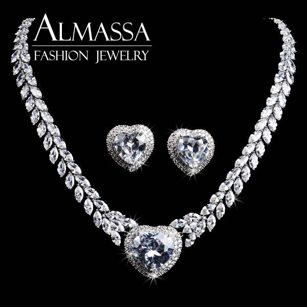 ALMASSA 2015 NEW Arriverl White Gold Plated CZ Diamond Drop White Heart shape Necklace and Earrings Jewelry Set for Women<br><br>Aliexpress
