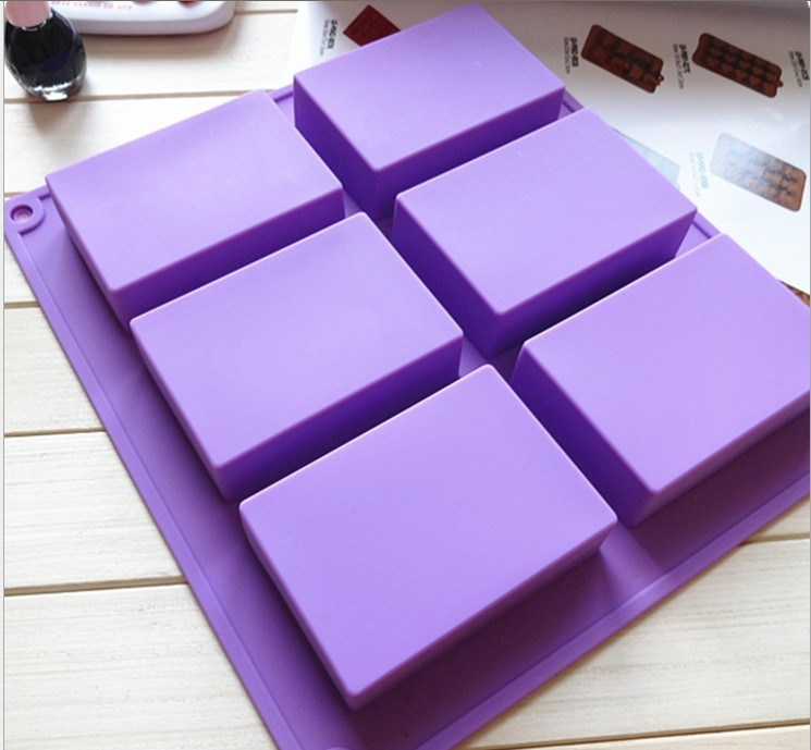 6 Cavities 3D handmade Rectangle Square silicone soap Mold chocolate cookies mould cake decorating fondant molds D041 - W&M-3 store