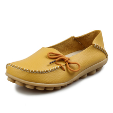 Size 35-43!Women Genuine Leather Shoes 2016Spring Soft Moccasins Leisure Mother Shoes Woman Driving Loafers Women's Flats Female