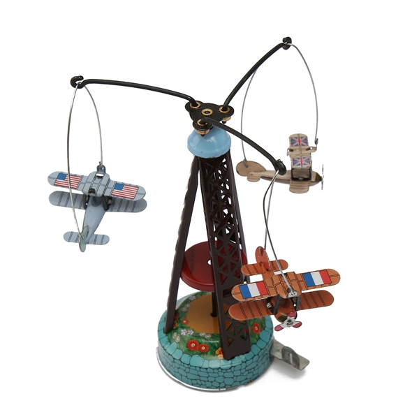 Wholesale Classic Wind Up Rotating Airplane Aircraft Carousel Clockwork Tin Toy Doll Collection Model Gift Children Kid Favorite(China (Mainland))