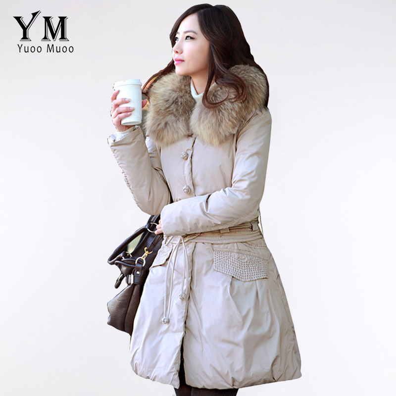 YuooMuoo Hot Ladies Winter Coat Long Women Wadded Jacket Autumn Fashion Fur Collar Down Parka Coat Female Outwear with Belt(China (Mainland))