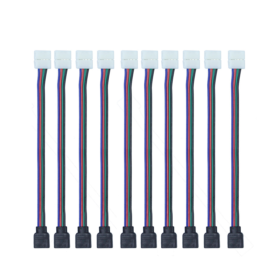 Free Shipping 100pcs Lot 4pin Rgb Led Connector Wire Male Wiring Strips In Parallel 10pcs 10mm Female Cable For 3528 5050