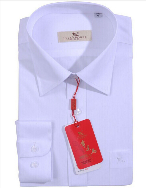 Lucky horse mens classic white business shirt long sleeve for Classic white dress shirt