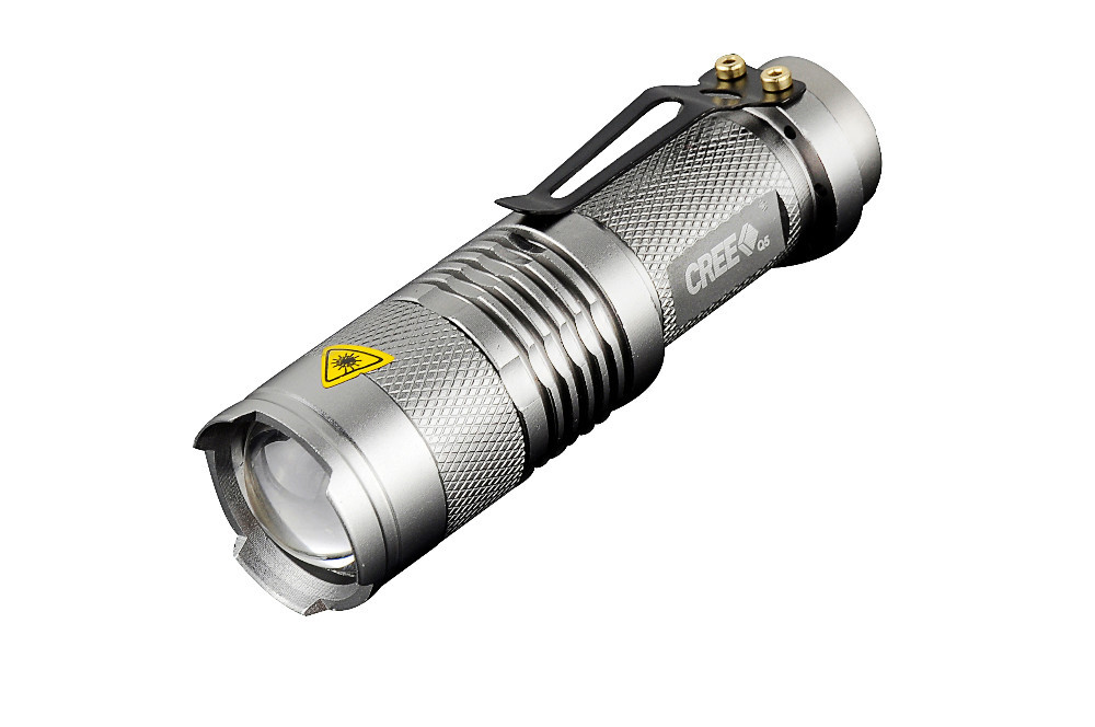 CREE Q5 led flashlight 7W high power mini zoomable 3 modes waterproof glare torch 14500 /AA bicycle Gray<br><br>Aliexpress