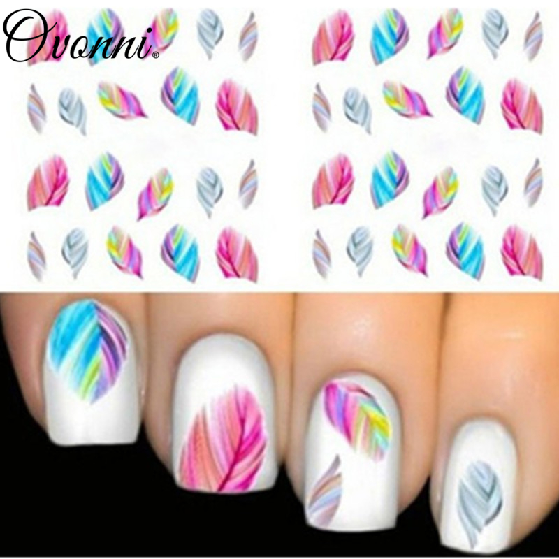 Fashionable Nail Decorations Art Tips Feather Water Transfers Nail Sticker for Ladies Feather Decals nail art tools(China (Mainland))